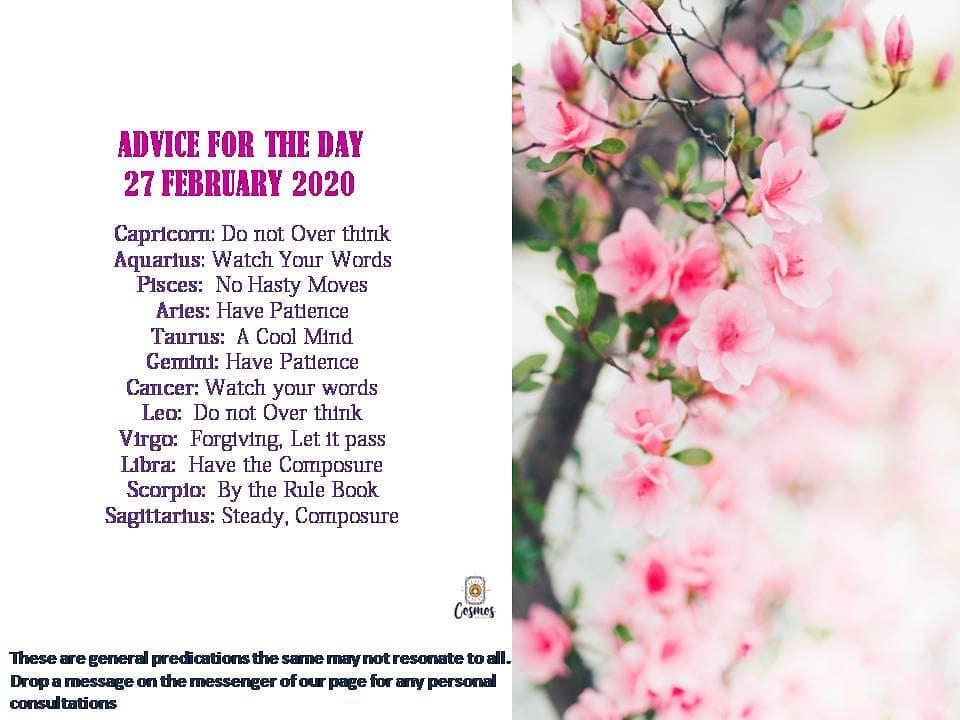 ZODIAC ADVICE, 27 FEBRUARY 2020horoscope astrology zodiac zodiacsigns horoscopes dailyhoro…