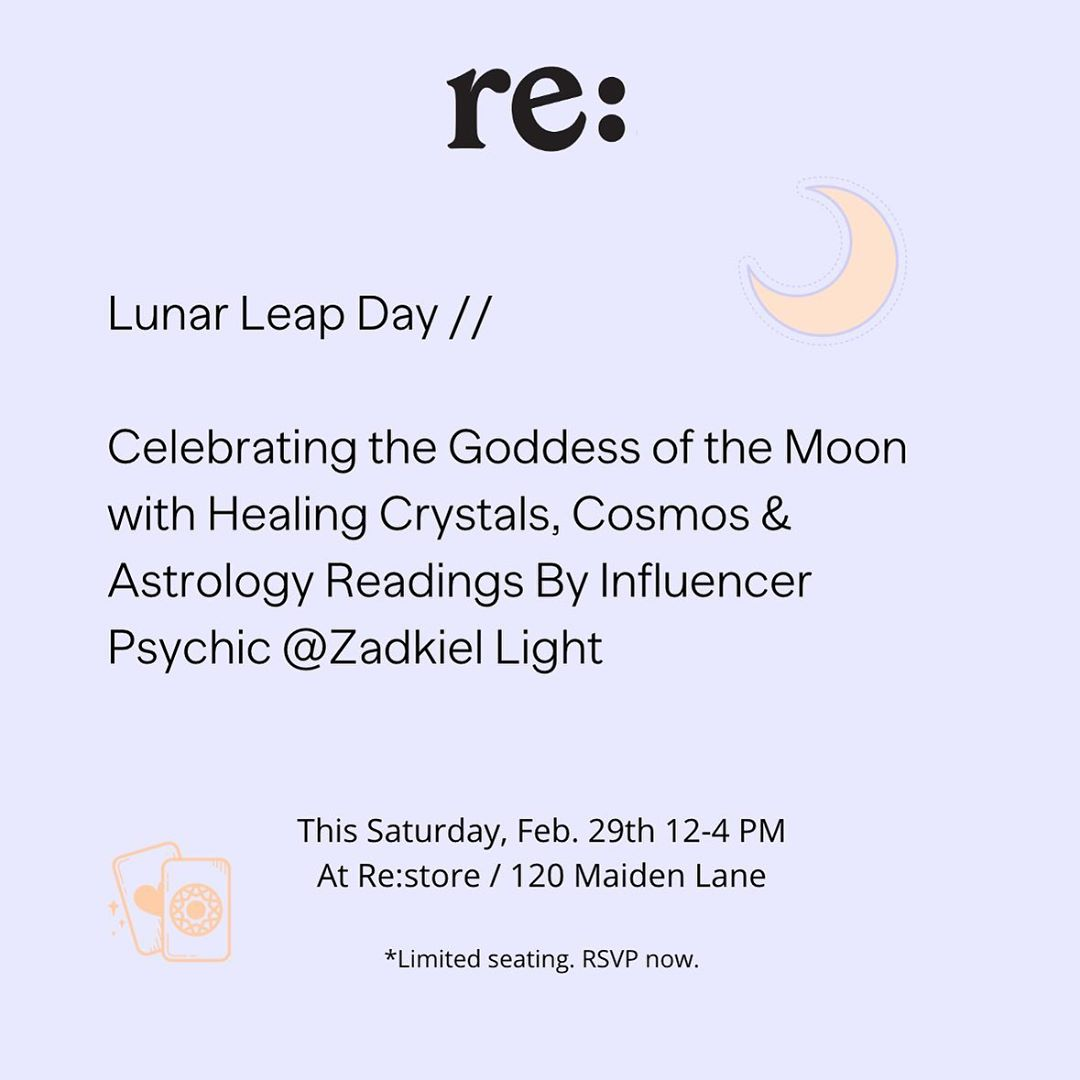 This Saturday, Feb 29th 12-4PM Join us for our Lunar Leap Day celebration with click to see email …